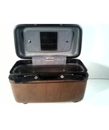 VINTAGE TRAIN LUGGAGE PIECE BROWN MIRROR AND TRAY - $19.99