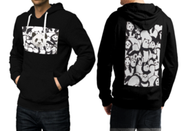 Panda  Black Cotton Hoodie For Men - $39.99