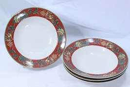 "Gibson Boughs of Holly Rim Soup Bowls 8.875"" Lot of 4 - $48.99"