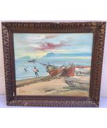 Vintage Oil Canvas Painting Sailboat Nautical Scene Impressionist Manner... - $269.99