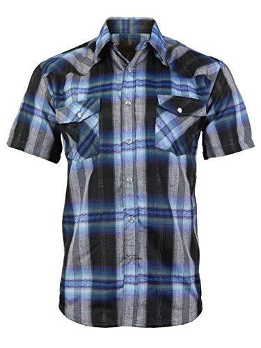 LW Men's Western Cowboy Pearl Snap Short Sleeve Rodeo Dress Shirt LW126S (Large,