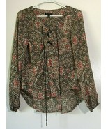 Women's Top Blouse Size M Semi Sheer Long Sleeve Red Floral Jessica Simpson - $11.87