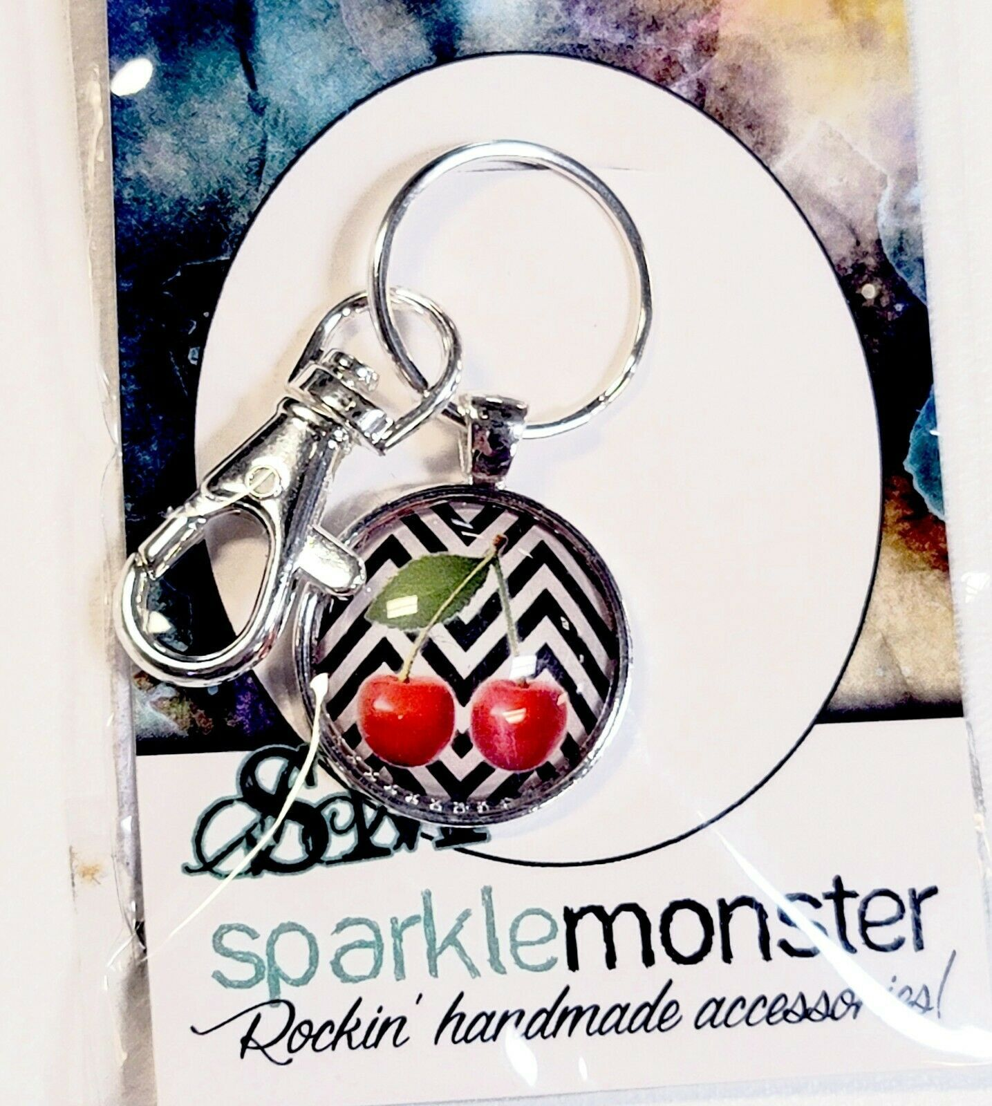 Primary image for SparkleMonster Cherry Keychain Key Ring Clip Silver Tone Black & White Chevron