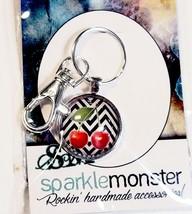 SparkleMonster Cherry Keychain Key Ring Clip Silver Tone Black & White C... - $8.01