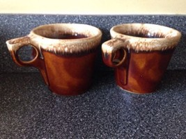 Pair Hull Brown Drip Glaze Pottery, Oven Proof Coffee Tall Mug / Cup Set... - $9.46
