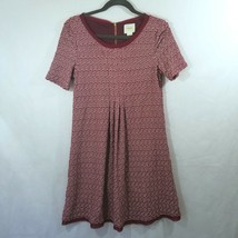 Maeve Anthropologie Burgundy Patterned Fit and Flare Dress Small - $32.71
