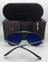 New TOM FORD Sunglasses STACY TF 452 02G 57-16 Matte Black-Gold Aviator w/Mirror - $459.95