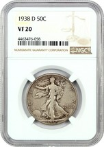 1938-D 50c NGC VF20 - Low Mintage Issue - Walking Liberty Half Dollar - $106.70