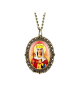 Unique Virgin Mary Necklace Quartz Pocket Watch Mother Mary Religious Pe... - $9.50
