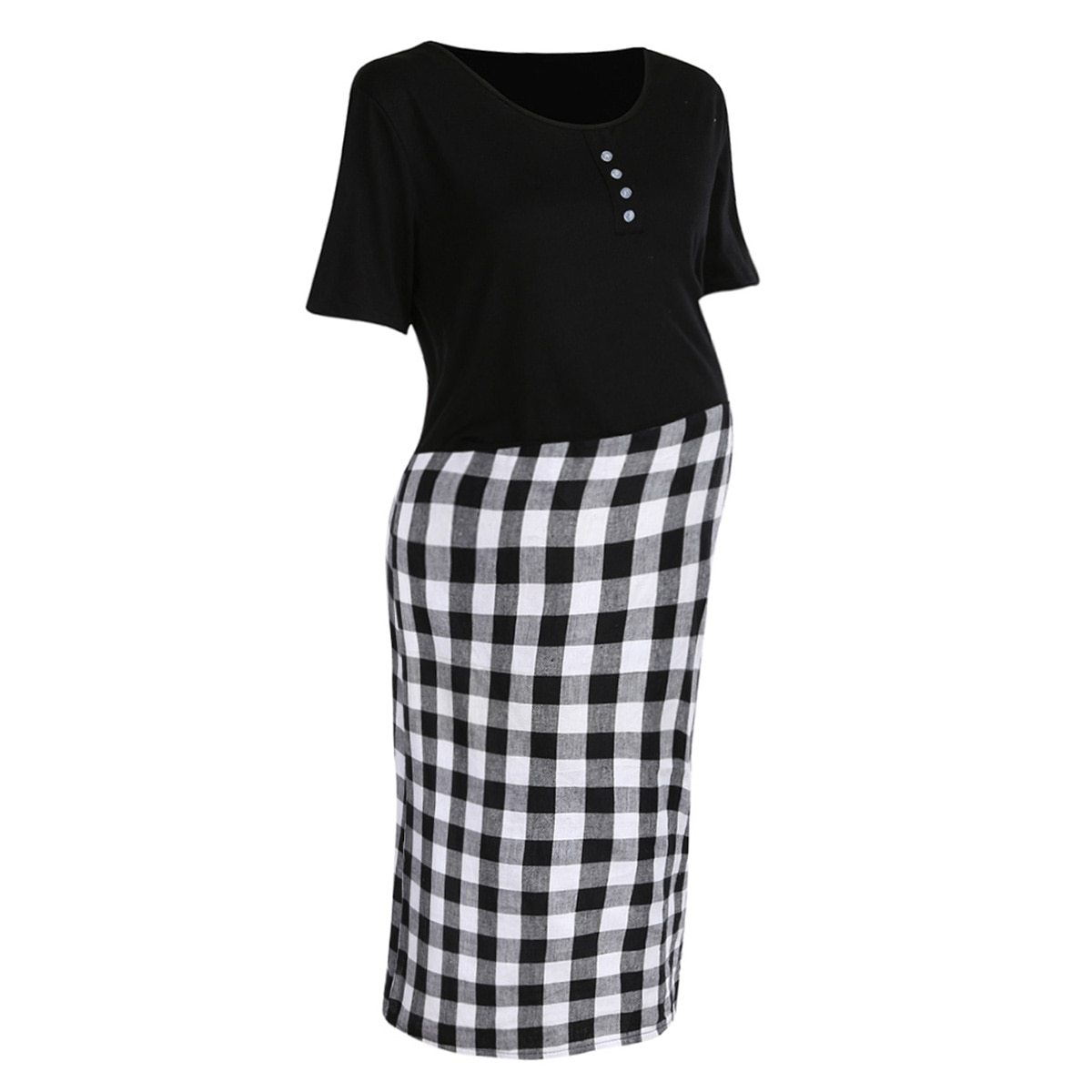 Maternity Dress Checkered Patchwork O Neck Short Sleeve Dress