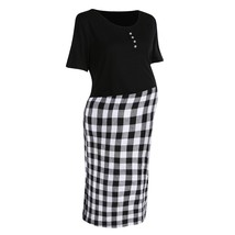 Maternity Dress Checkered Patchwork O Neck Short Sleeve Dress - $21.99