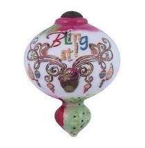 Reindeer Bling It Christmas Ornament Ne' Qwa Art Reverse Painted Glass N... - $42.56