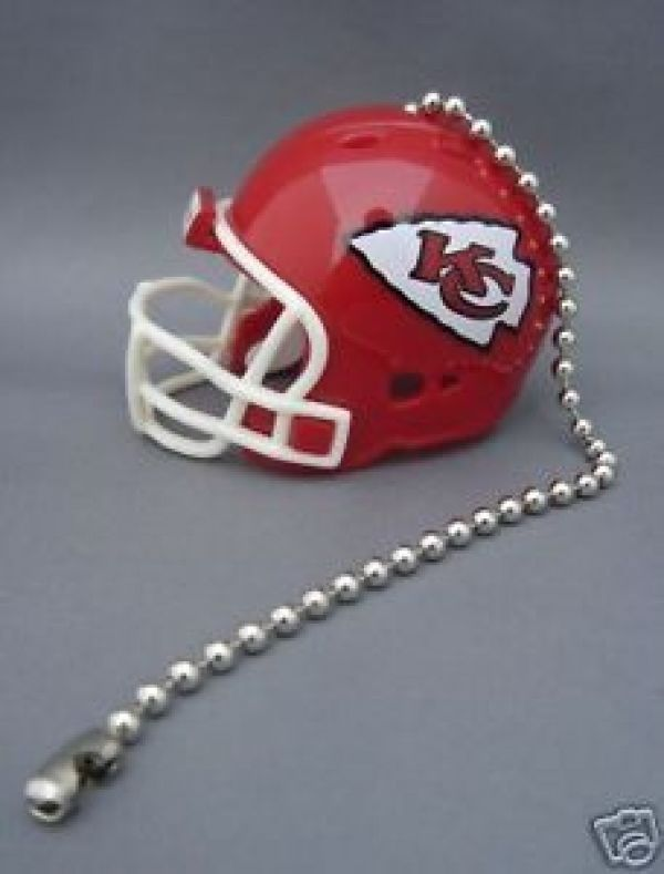 2 KANSAS CITY CHIEFS CEILING FAN LIGHT PULL & CHAIN NFL FOOTBALL HELMETS