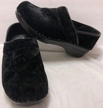 Dansko Black Suede Clogs Slip On Shoes Sz. 36 EU 5.5-6 US Nurse Backless Nubuck - $33.65