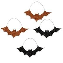 Bethany Lowe Halloween Orange Black Glittered Bat Ornaments Set/4 Decora... - $13.95