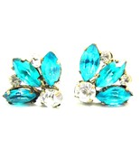 Czechoslov Vintage Rhinestone Screw On Earrings Czechoslovakia - $18.59