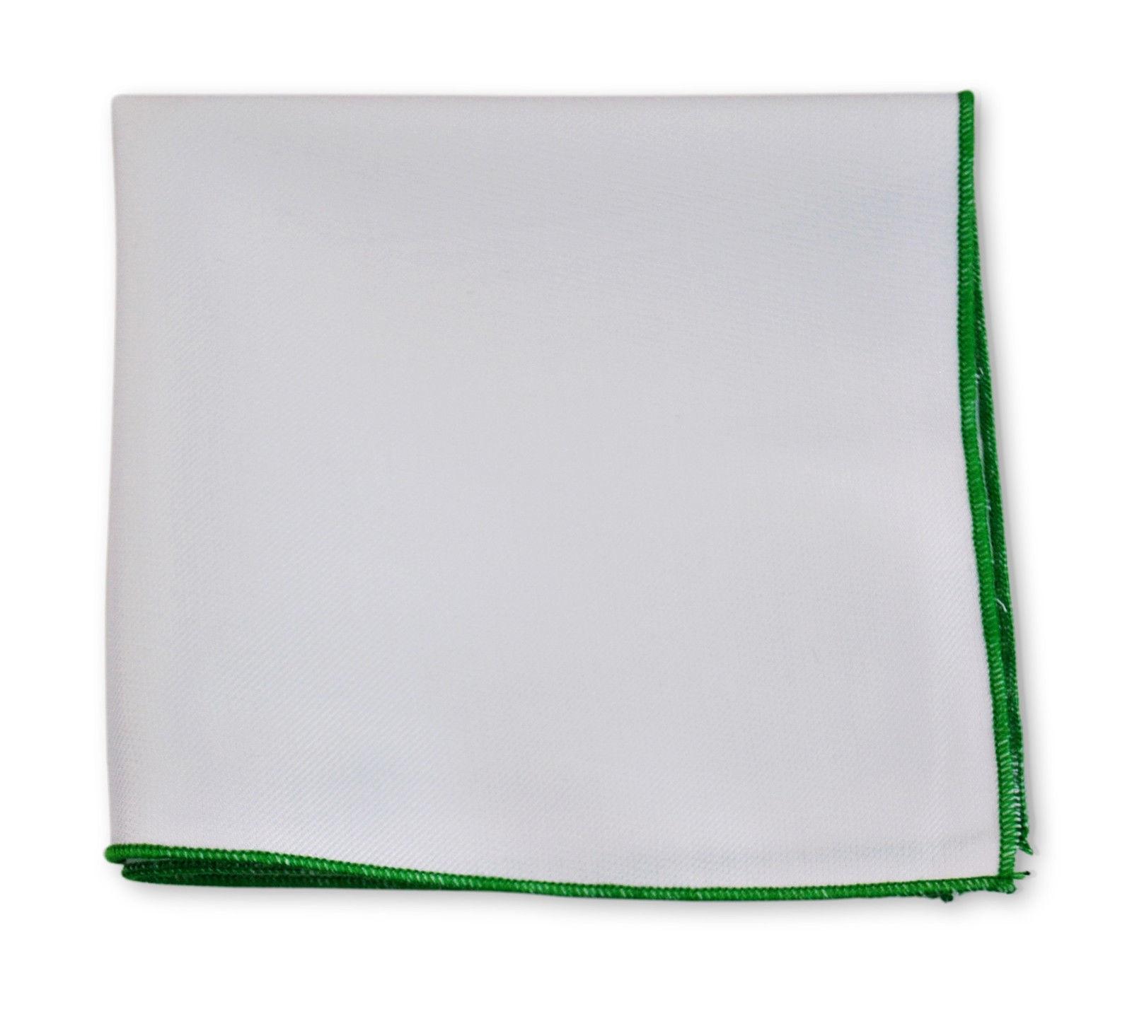 Frederick Thomas cotone bianco fazzoletto da taschino con VERDE EDGE ft3402