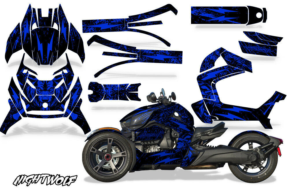 Full Body Wrap Graphic Sticker Decal for Can-Am Ryker 2019 - Nightwolf Blue