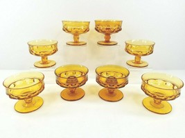 Indiana Colony Glass Amber Kings Crown (6) Footed Sherbet Cup (2) Candle Holders - $49.17