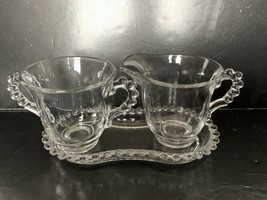 """Vintage Imperial Glass Candlewick Sugar & Creamer W/ Contoured Tray 7 1/4"""" - $15.00"""