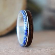 Wood Ring, Teak wood with Silver and Lapis lazuli inlay, Women's, Men Wo... - $90.00