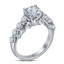 Ladies Solitaire With Accents Ring Round Cut CZ 10k White Gold Plated 92... - £55.09 GBP