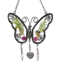 Smart LIfe Helper Grandma Butterfly Suncatcher Wind Chime with Pressed F... - $15.66