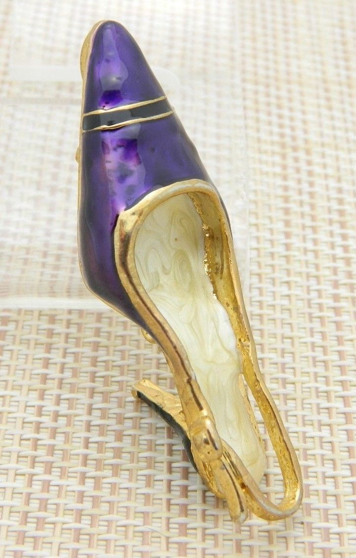 Purple Cream Enamel High Heel Pendant Pin Brooch Vintage