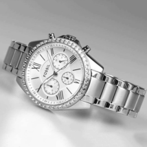 FOSSIL Modern Courier Chronograph Silver-Tone Stainless Steel Watch BQ17... - $89.00