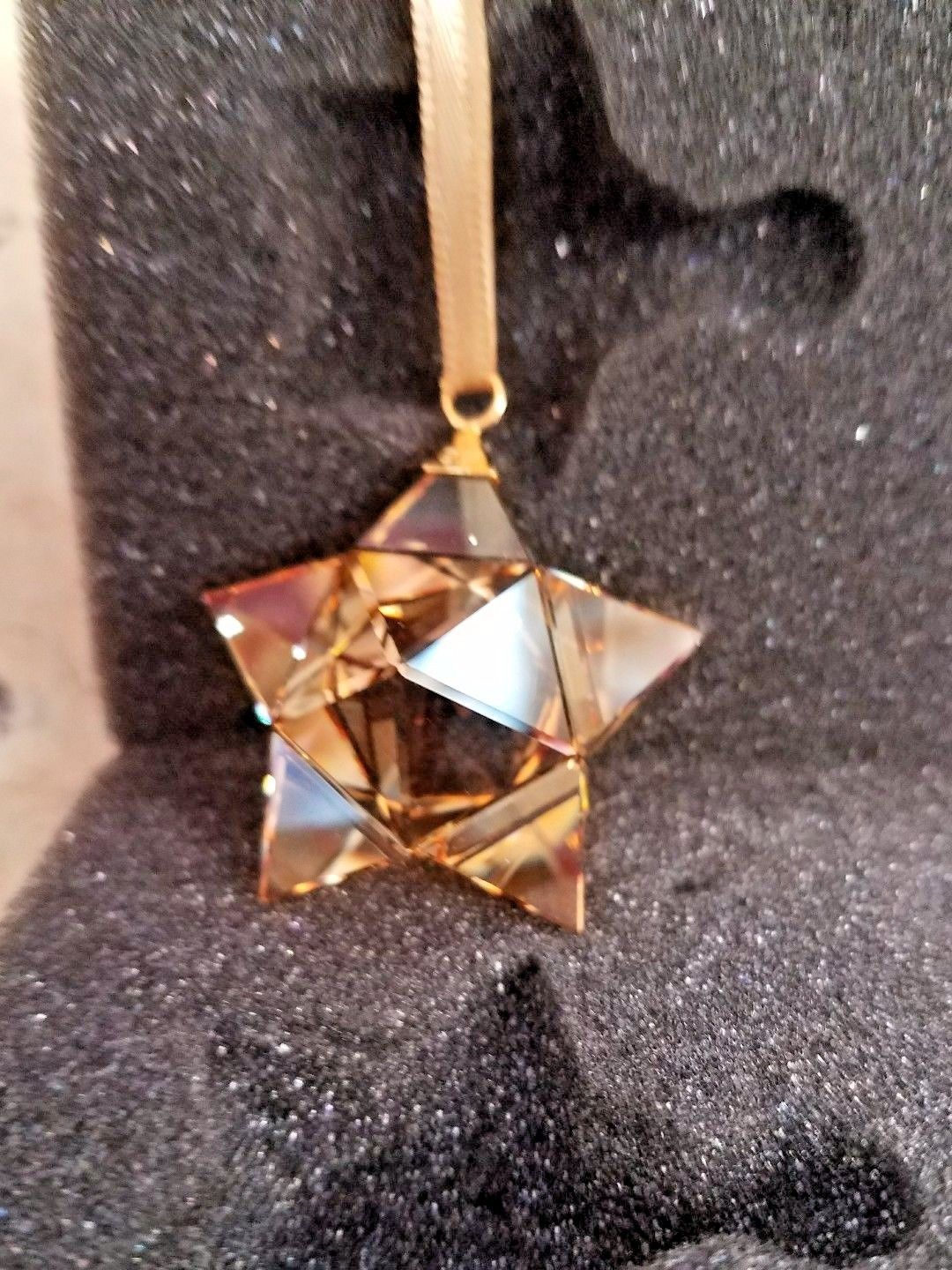 Swarovski Star Ornament, Small, Gold Tone Hanging Holiday Collectible