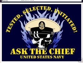 NAVY ASK THE CHIEF TESTED SELECTED  INITIATED DECAL - $11.72