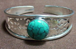 925 Sterling Silver Turquoise Cuff Bangle /BRACELET( Hallmarked In The Uk) - $158.39