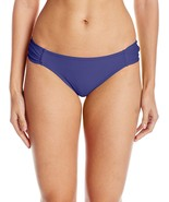 Jessica Simpson Solid Side Shirred Hipster Bikini Bottom Blue Small - $23.76