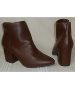 Lane Bryant Brown Leather Ankle Boots Zip Side Heels Women's Size 9 NEW ... - $29.69