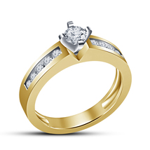 Womens Engagement Band Ring Round Cut White CZ 14k Yellow Gold Plated 925 Silver - $67.99