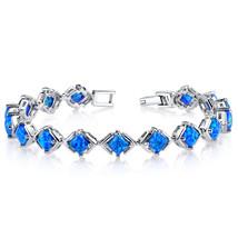 Sterling Silver Princess Cut Blue Opal Tennis Bracelet - £111.65 GBP