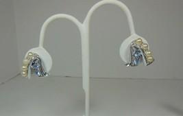 Vintage Silver Tone Blue Rhinestone Faux Pearl Screw Back Earrings - $10.88