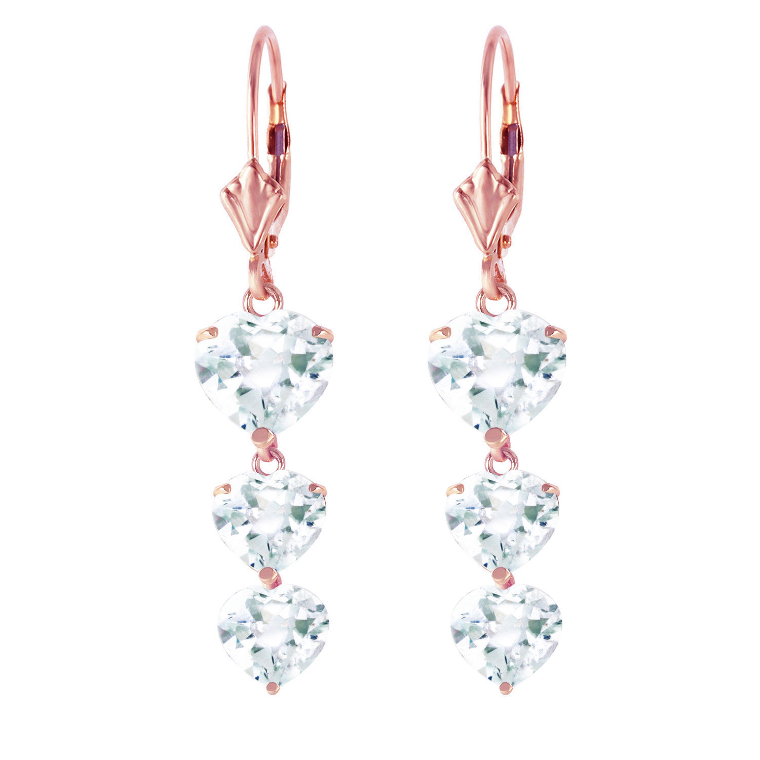 Primary image for 14K Solid Rose Gold Women's Gorgeous Chandelier Fashion Earrings w/ Aquamarines