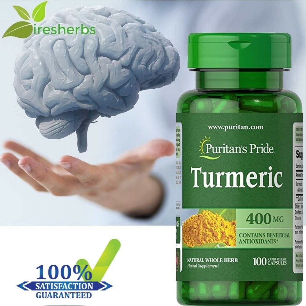 Primary image for TURMERIC CURCUMIN 400 MG BRAIN HEALTH ANTIOXIDANT SUPPLEMENT PILLS 100 CAPSULES