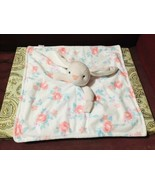 Carters White Pink Floral Bunny Security Blanket Baby w/ Pacifier Loop - $29.70