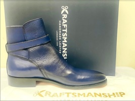 Handmade Men's Blue High Ankle Monk Strap Leather Boot image 5