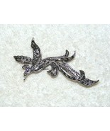 VINTAGE PEACOCK SILVERTONE W/ BLACK RHINESTONE DESIGN PURPLE EYE BROOCH ... - $14.99