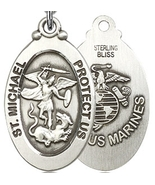 MARINES MEDAL - Sterling Silver St. Michael Medal - 4145 - $83.95