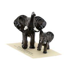 Hagen Renaker Miniature Elephant Mama & Baby Ceramic Figurine image 3