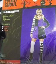 New Womens Harlequin Jester Purple Dress Costume Size Medium M - Free Shipping - $22.99