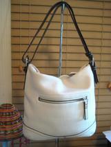 AUTH COACH Hobo Pebbled Winter White Leather Handbag 10940 Brown Trim - $138.59