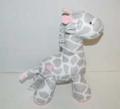 Carters Just One You Plush gray white rattle giraffe pink heart soft bab... - $11.57