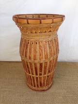 "Bamboo Wicker Plant 13""x8"" Antique Primitive Look Container Vase Basket - $24.75"