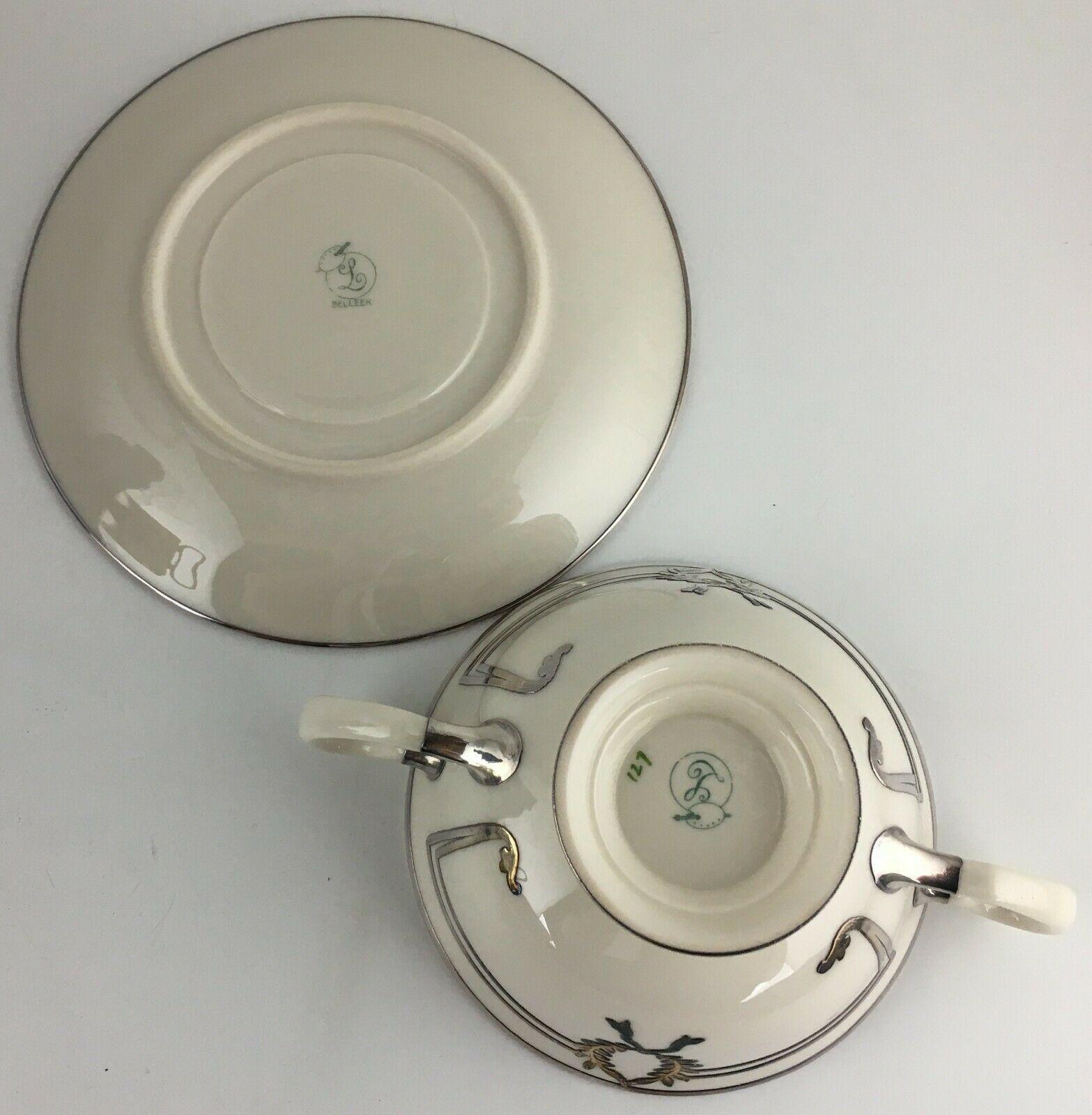 Lenox Belleek L103 Bouillon bowl & saucer / Silver overlay image 3