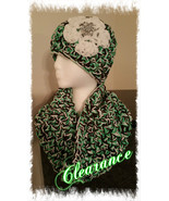Green,  Black & White Handmade Triple Yarn Hat & Cowl Set - $25.00